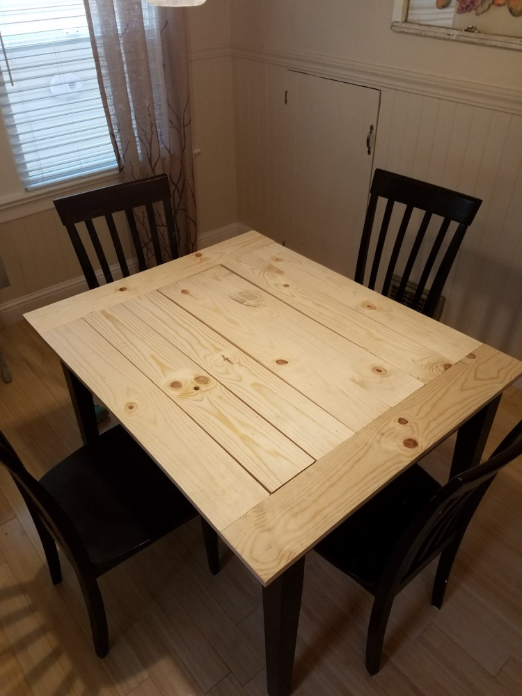 After adding the pre-cut wood to the table.